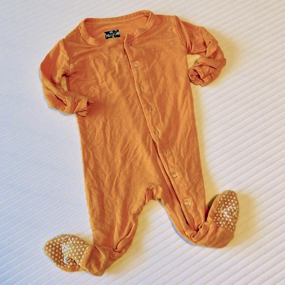 Orange Kickee Pants Bamboo Footed Sleeper 0-3